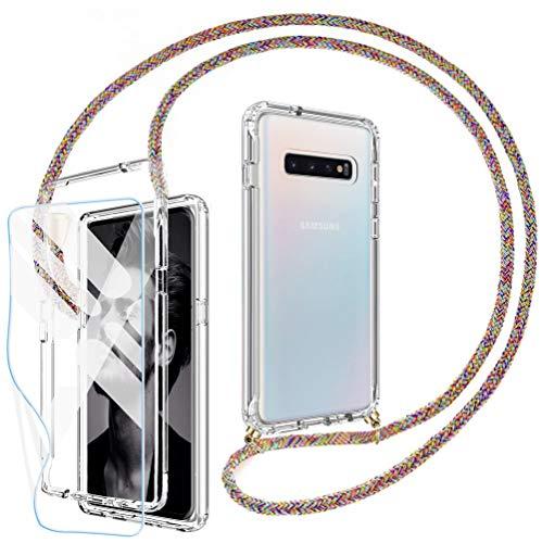 Mkej 360 Grad Handykette Hülle kompatibel mit Samsung Galaxy S10, Hybrid R&um Doppel-Schutz Cover Smartphone Necklace Handyhülle mit [2 Stück] Bildschirmschutzfolie [Flexible Folie] - Regenbogen