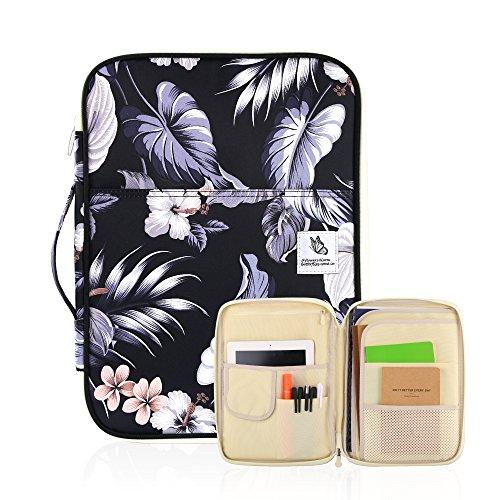 Student und Business Padfolio/Portfolio - Multifunktions-Tasche mit 8 Taschen für A4/A5 Papier Größe Dokumente und Notbooks, wasserdicht Reißverschluss Organizer von YOUSHARES (MulWH)