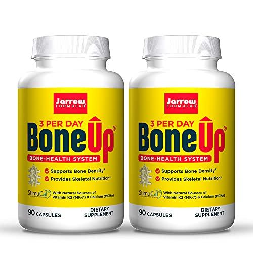 Jarrow Formulas BoneUp Three Per Day - 90 Capsules, Pack of 2 - Micronutrient Formula for Bone Health - Includes Natural Sources of Vitamin D3, Vitamin K2 (as MK-7) & Calcium - 60 Total Servings