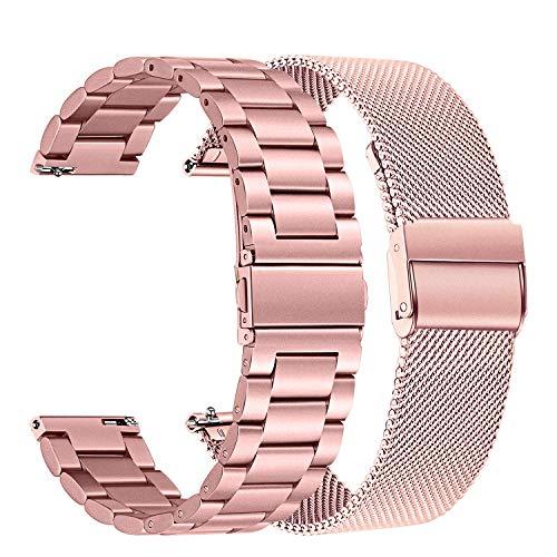 TRUMiRR Ersatz für Galaxy Watch 42mm/Galaxy Watch Active 2 40mm 44mm/Galaxy Watch Active/Gear Sport Armband, 20mm Solide Edelstahl Uhrenarmband Mesh Metall Armband Business Sports Ersatzband