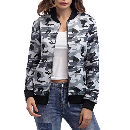 LAEMILIA Damen Jacke Pilotenjacke Camouflage Bomberjacke Kurz Outwear Casual Coat Stehkragen Damenjacke Military Still