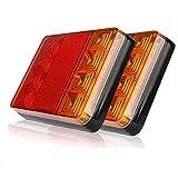HANEU 2PCS Impermeable 8 LED Piloto Trasero Rojo Amarillo Trasero Luz DC DC 12V para Remolque Camión Barco Espec.
