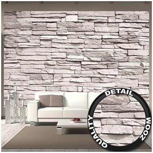 GREAT ART Fototapete – White Stonewall – Wandbild Dekoration Steintapete 3D Stein Mauer Wandverkleidung Steinoptik weiß Steinwand Steinmauer Wandtapete Fotoposter Wanddeko (336 x 238 cm)