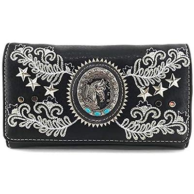 Zelris Western Horse Portrait Star Floral Women Crossbody Wrist Trifold Wallet (Black)