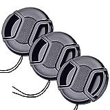40.5mm レンズキャップ 3個セット インナー式ワンタッチレンズキャップ 40.5mm 脱落防止フック付き レンズプロテクトキャップ … (40.5mm)