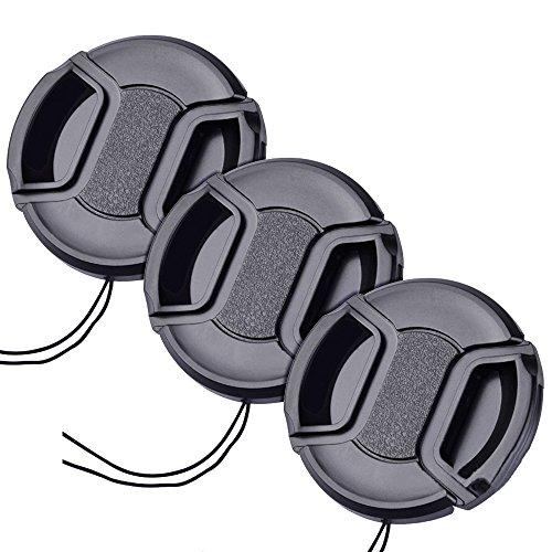 52mm レンズキャップ 3個セット インナー式ワンタッチレンズキャップ 52mm 脱落防止フック付き レンズプロテクトキャップ (52mm)