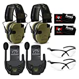 Walker's Razor Slim Electronic Shooting Muffs (OD Green Patriot) 2-Pack with Walkie Talkies, Shooting Glasses, and Focus Cleaning Cloths Bundle (8 Items)