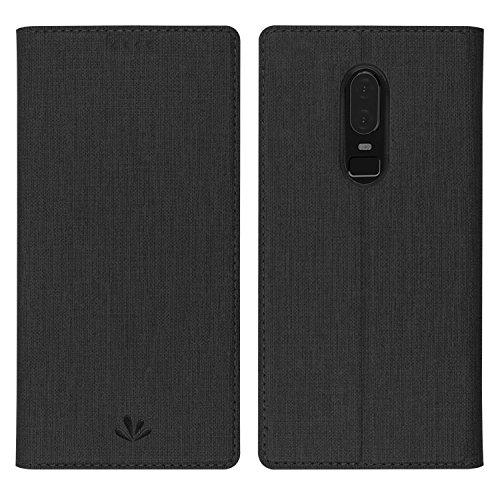 Simicoo OnePlus 6 Leder Tasche Flip klappbares Handyhülle Standfunktion Kartenfach Magnetverschluß Card Holder kristallklarer TPU Wallet Schutzhülle für OnePlus 6 One Plus 6 1+6 (Schwarz)