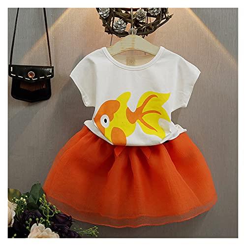 Youpin Conjuntos de ropa de verano para niñas princesa con manga volador+falda de malla de gasa con lazo grande, 2 piezas para bebés y niños (color: MX190, tamaño para niños: 6)