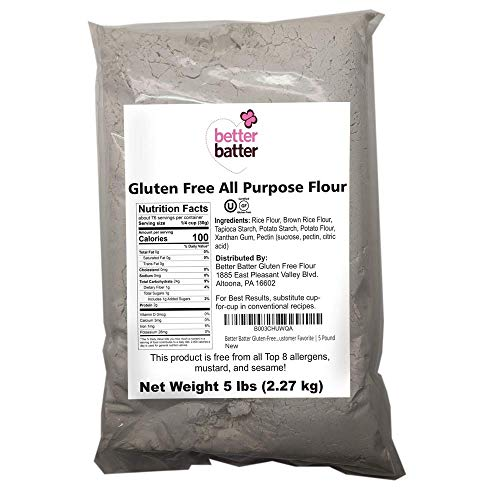 Better Batter Gluten-Free Flour, Packaging May Vary Refer to Photos, A Gluten-Free Cup for Cup Alternative to Ordinary Flour, Great Tasting Customer Favorite 5 Pounds