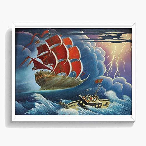WJY Rot Segelboot Carl Barks Donald Scrooges McDuckes Poster Malerei auf Leinwand Schlafzimmer Wandkunst Dekoration Bilder Home Decor 60cm x90cm Kein Rahmen