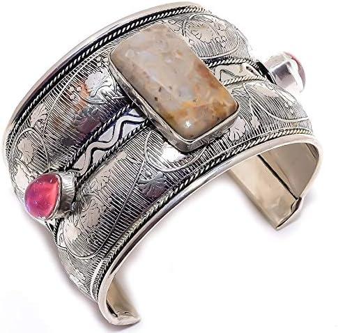 YUVI Fossil Coral, Triplet Opal .925 Silver Jewelry Cuff Bracele