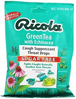 Ricola - Natural Herb Throat Drops Sugar Free Green Tea with Echinacea - 19 Lozenges.pack of 2