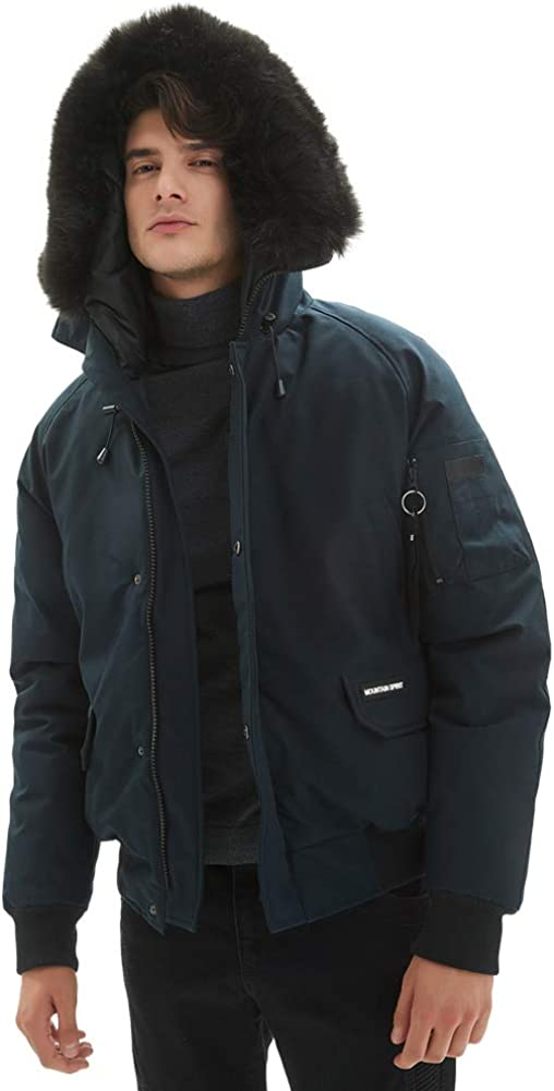 PUREMSX Men's Winter Bomber Jacket, Superior Club Flight Jackets for Men with Fur Fashion Hooded Classic Down Alternative Short Jacket for Extreme Weather Gifts for Dad,Navy,Medium