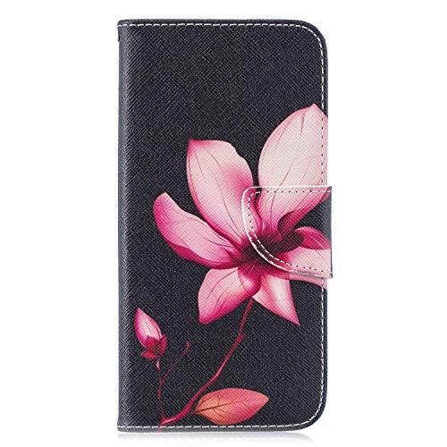 Reevermap Huawei P Smart 2020 Hülle Leder, Handyhülle Case Cover Ständer Magnetverschluss Klappbar Brieftasche Schutzhülle für Huawei P Smart 2020 mit Kartenfächer, Roter Lotus