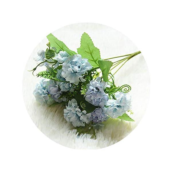 9 Heads Hydrangea Artificial Flowers Ball Bunch Fake Flowers Silk DIY Home Decor Faux Flowers Wedding Decoration Table Bouquet