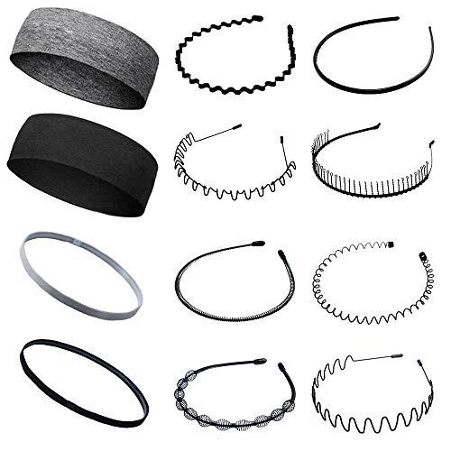 12 Stück Multi-Style Metall Haarbügel Stirnband Flexibles Kamm Haarband Rutschfeste elastische Sport Stirnbänder Unisex Stirnband Zubehör für Männer und Frauen