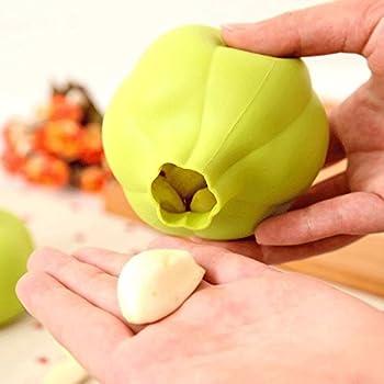 LULAA にんにく 皮むき器 ガーリックピーラー シリコン キッチンツール グリーン 可愛い