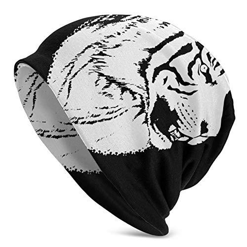 Lawenp Gorro de Punto, Gorro de Calavera de Animal de Tigre de Sumatra, Gorro de Cobertura de Invierno Informal para Hombres, Mujeres, Sombreros de Invierno, Negro