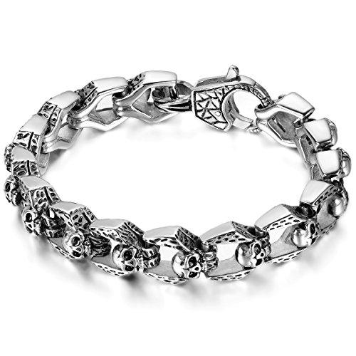 JewelryWe Schmuck Herren Armband, Retro Gotik Biker Totenkopf Schädel Armreif Armkette, Edelstahl, Schwarz Silber
