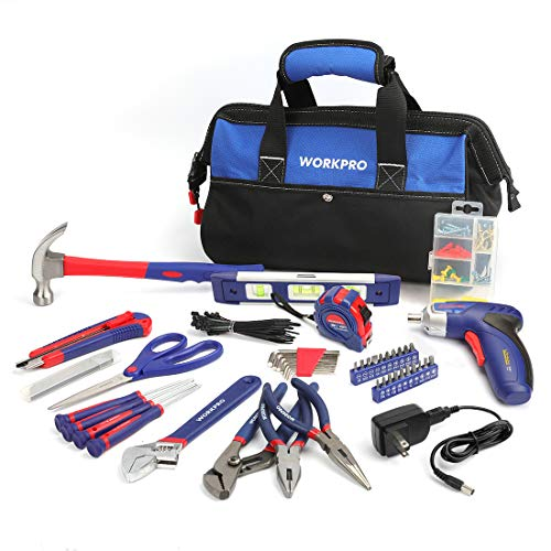 WORKPRO 125-Piece Household Tool Kit – 3.6V Rechargeable Screwdriver & Home Repair Basic Tool Set With 13-Inch Easy Carrying Tools Bag, 125 PCS (W009068A)