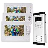 uoweky Kit Sistema Citofono Controllo Accessi Wired 7'Monitor Videocitofono Citofono Campanello per Casa/Sppartamento (3 monitor 1 telecamera)