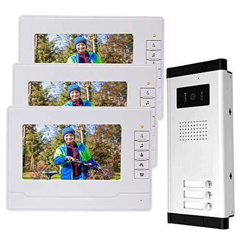 uoweky 7 '' Cable de Video con Color en la Puerta Sistema de Intercomunicación IR Cámara de Visión Nocturna Timbre + Pantallas de Monitor de Interior para 3 Apartamentos