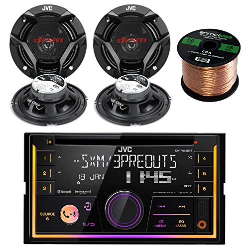 "JVC KWR930BTS Double DIN Bluetooth Car Stereo Receiver Bundle Combo with 4X JVC CS-DR620 6.5"" Inch 300-Watt 2-Way Audio Coaxial Speakers + Enrock 50 Foot 16 Gauge Speaker Wire"