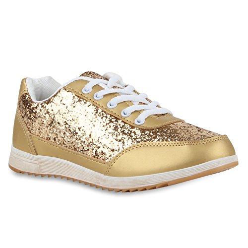 stiefelparadies Glitzer Damen Lauf Profilsohle Sport Flats Runners Schuhe 110303 Gold 38 Flandell