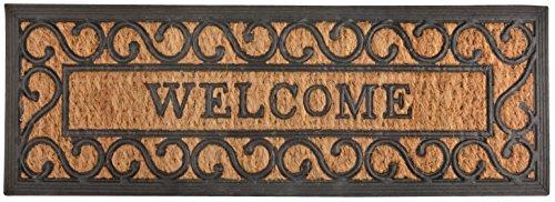 Esschert Design RB169 Welcome Tür-/Stufenfußmatte, Kokosfaser, Gummi, schwarz/braun, 75 x 25 x 0.9 cm