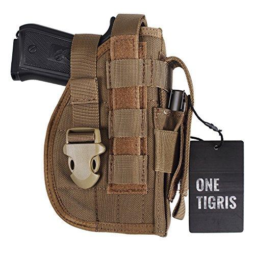 OneTigris Taktische Molle Modular Pistolenholster mit Magazintasche für Rechtsschützen 1911 45 92 96 Glock (Khaki)