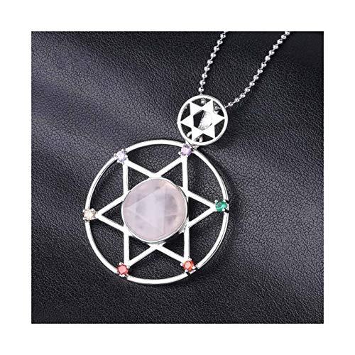 QWERBAM Piedra Natural Hexagrama Chakra Colgante Colgante Estrella Espiritual de David Beads Joyería de Moda for Mujeres Hombres (Metal Color : Rose Quartz Chain)