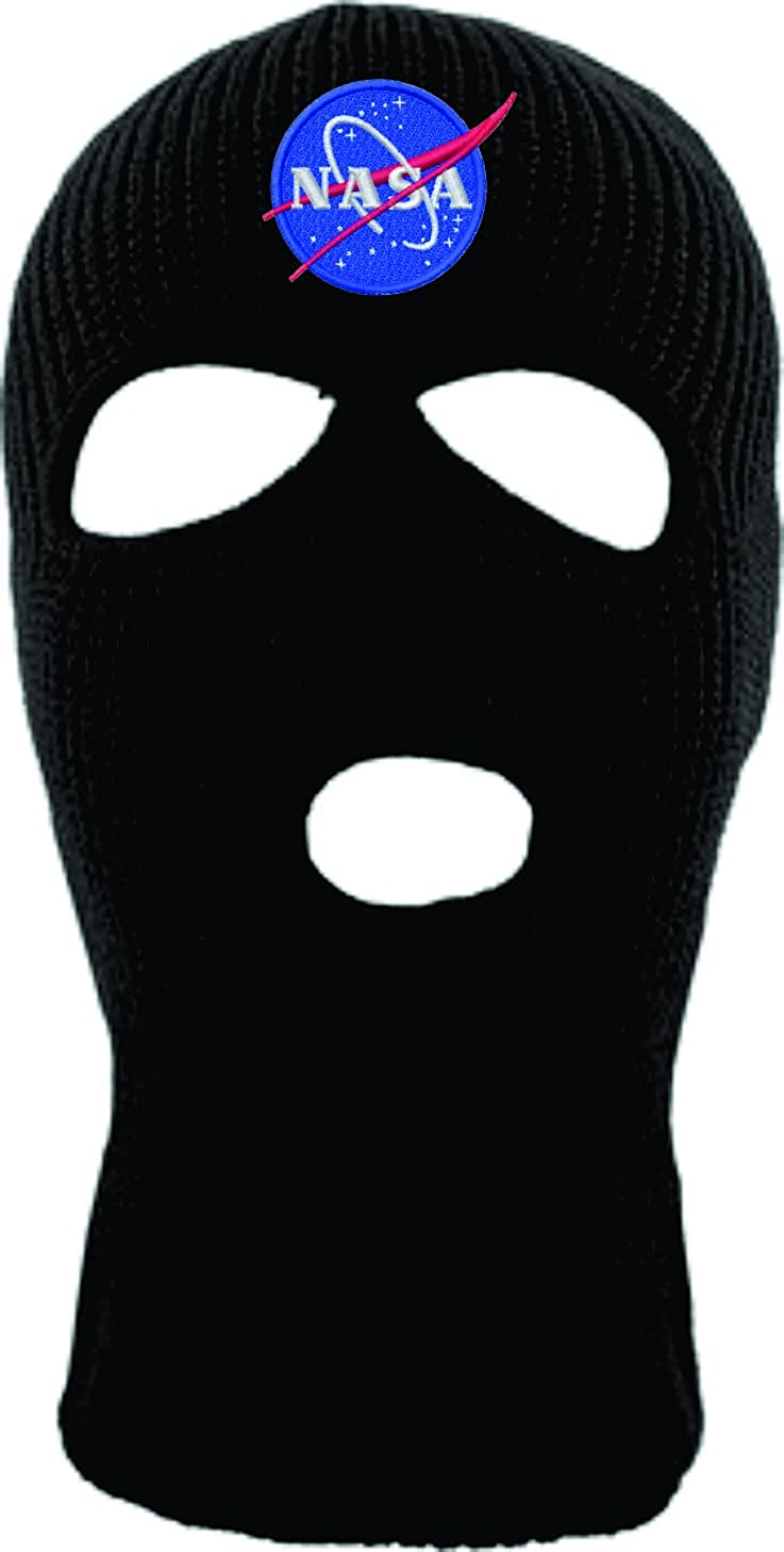 ALLNTRENDS Ski Mask Adult Three Hole Mask NASA Embroidered Full Face Cover Knitted Beanie Warm Graphic Balaclava Hat