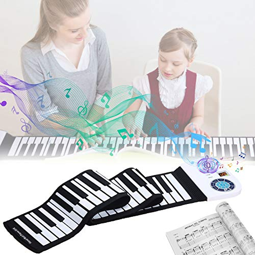 Roll Up Piano Hollee 88 Key Portable Keyboard MIDI with Bluetooth Upgraded Electronic Piano Built-in Speakers for Kids Adults Beginners 128 Rhythms Music Gift with Pedal for Education Entertainment