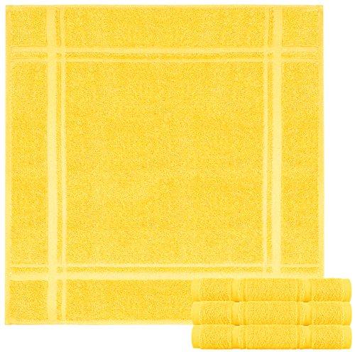Lashuma Juego de 4 paños de cocina de rizo – Paños de cocina de 100% algodón – Paños de cocina en bonitos colores de moda, 100 % algodón, amarillo maíz., 50 x 50 cm