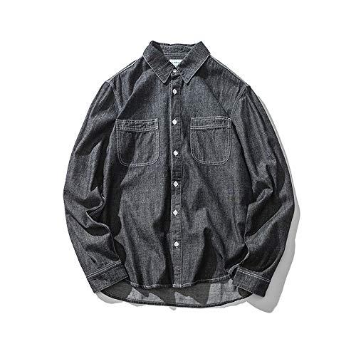 Nueva Camisa de Mezclilla Fina Retro de Camisa de Color sólido para Hombre