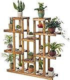 Soporte para plantas con pedestal de madera, soporte para plantas y flores, para interiores y exteriores, jardín y balcón