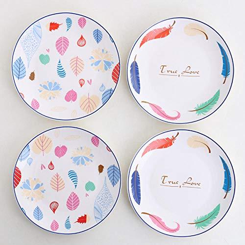 FaucetKAI Piatti, Ciotole e vassoi Set di 4 Piatti Piatto in Ceramica Piatto per Piatti Occidentali Combinazione Piatto per Piatti casalinghi Bistecca Piatto-2 Foglie Colorate + 2 True_Love