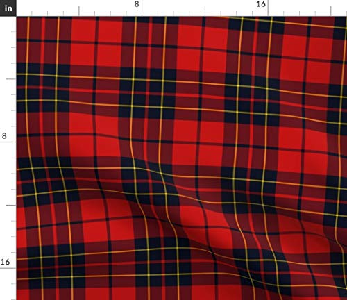 Spoonflower Fabric - Tartan Red Scottish Plaid Classic Black Yellow Rustic Home Decor Check Printed on Satin Fabric by The Yard - Sewing Lining Apparel Fashion Blankets Decor