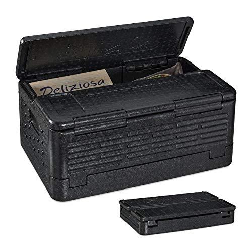 Relaxdays Thermobox für Essen, klappbare Isolierbox, mit Deckel, EPP, 37 L, für Pizza Lieferservice, Einkäufe, schwarz, 1 Stück
