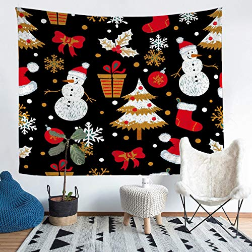 Kids Cute Snowman Wall Hanging for Boys Girls Children Cartoon Christmas Tree Tapestry Xmas Gift Hat Socks Wall Blanket Winter Snowflake Decor Bedding Throw Blanket Large 58x79