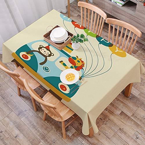 Tischdecke abwaschbar 140x200 cm,Geburtstag Dekorationen für Kinder, Blue Hippie Bus mit Affen Giraffen Luftballons Überraschungsbox,Ölfeste Tischdecke, geeignet für die Dekoration von Küchen zu Hause