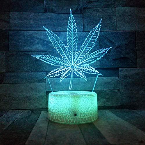 3D Led Neue Riss Basis Hanf Blätter Nachtlicht Veränderbar Unkraut Illusion Lampe Optische Visuelle Tischlampe Room Party Decor