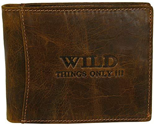 WILD THINGS ONLY !!! Herren GeldbArse Geldbeutel Portemonnaie Leder WILD, Braun, 12,5 x 2 x 9,6 cm