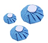 Koo-Care Ice Bag Hot & Cold Reusable Ice Pack, 3 Pack[11', 9', 6'] (Blue/White Checkered)