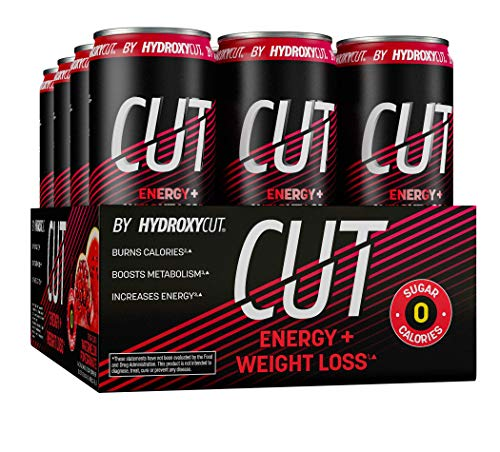 Energy Drink + Weight Loss | Hydroxycut Cut | Sparkling Energy Drinks + Weight Loss | Sugar Free, Zero Calories | Metabolism Booster for Weight Loss | Watermelon Pomegranate, 12 fl oz Can (Pack of 12)
