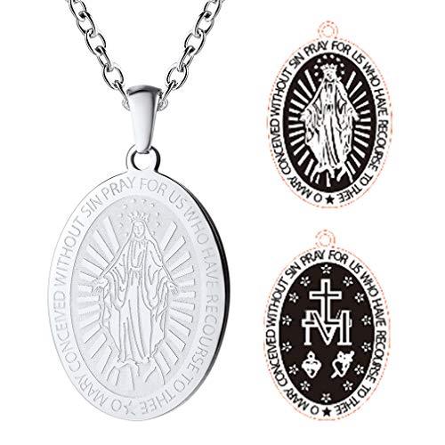 FaithHeart Plata Colgante Óvalo Nuestra Señora María Grabado Acero Católicó Cadena 21.5 Pulgadas
