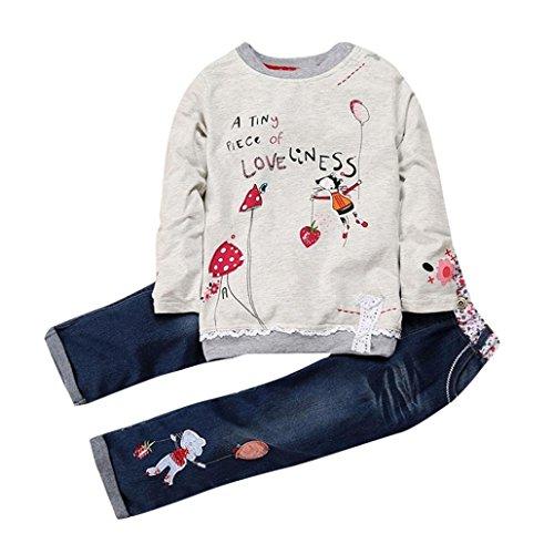 K-youth Conjunto de Ropa para Niñas Ropa Bebe Niña Invierno Camiseta de Manga Larga Sudaderas Niña Top y Pantalones de Mezclilla(Gris, 3-4 años)