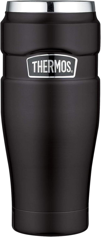 THERMOS Stainless King 4002.232.047 - Termo de acero inoxidable para llevar (470 ml, apto para lavavajillas), color negro
