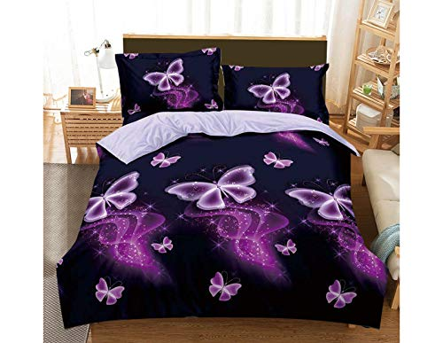 Renoazul Double Duvet Cover - Super Soft Hypoallergenic 4 Piece 3D Printed Duvet Covers Double Bed Include Fitted Bed Sheet, 2 Pillow Case - All Season Bedding Set - Pink Butterfly 312